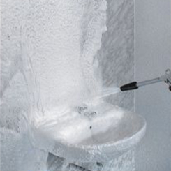 Restroom cleaning machines